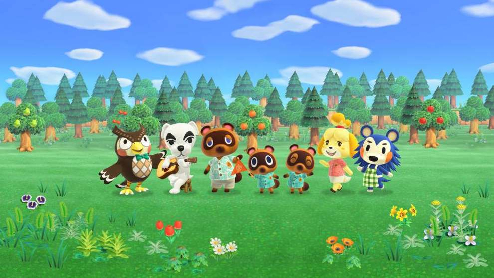 Personajes de Animal Crossing en un bosque