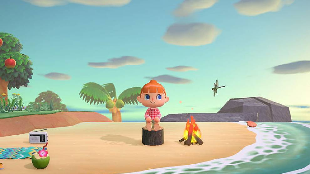 Personaje de Animal Crossing tomando el sol en la playa