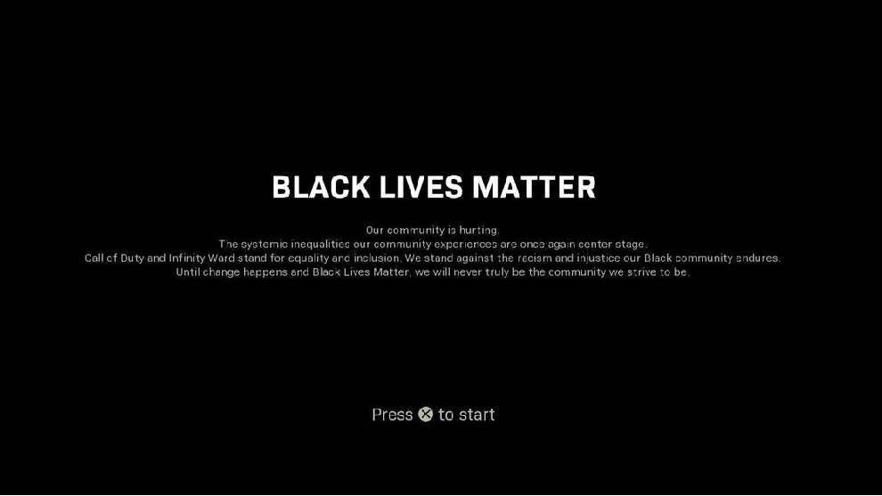 Mensaje de Call of Duty en apoyo a Black Lives Matter